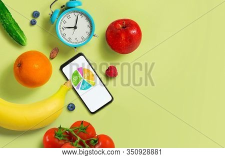 Schedule Of Proper Nutrition. Healthy Eating Diet Food Diagram Concept. Copy Space. Top View