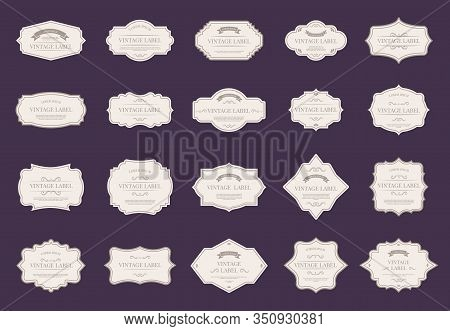 Retro Elegant Labels. Vintage Ornamental Shapes, Royal Decorative Frames, And Premium Wedding Design