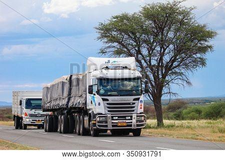 Omaheke, Namibia - February 11, 2020: Semi-trailer Truck Scania R At The Interurban Road.