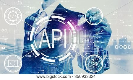 Api - Application Programming Interface Concept Api Concept With Businessman On A City Background