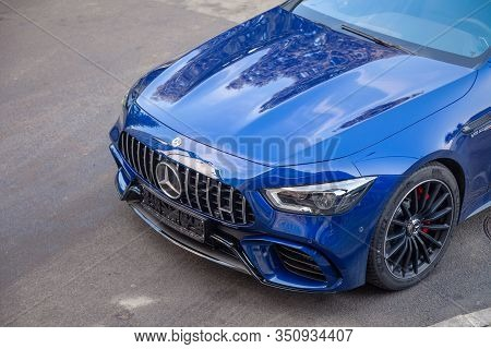 Russia Kemerovo 2019-09-16 Blue Car Mercedes-amg Gt 63 43 53 4Matic Parked Outdoor On Street Backgro
