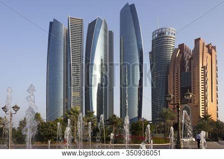 Abu Dhabi, Uae - December 28 2017: Etihad Towers Modern Skyscrapers In Abu Dhabi At Sunset Light