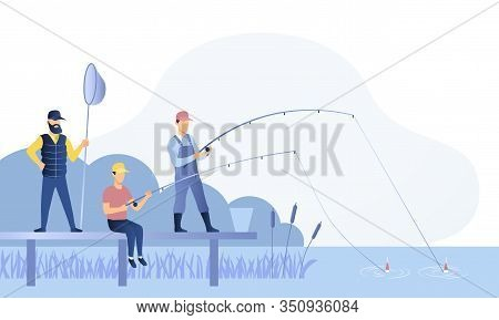 Group Of Fishermen Or Anglers Fishing Together Off A Jetty On A River With Rods, Reels And A Net, Co