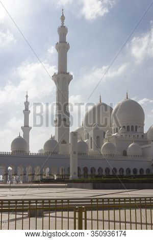 Abu Dhabi Uae - December 28 2017: View From The Street Of The Grand Mosque In Abu Dhabi