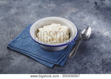 Milk Rice Porridge, Creamy Rice Pudding Or French Riz Au Lait In A Metal Bowl