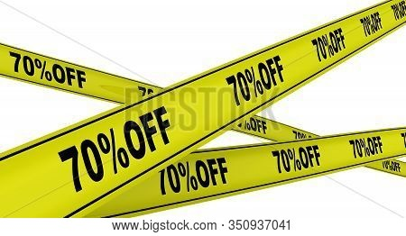 Discount Of Seventy Percentage. Labeled Yellow Warning Tapes. Yellow Warning Tapes With Black Text 7