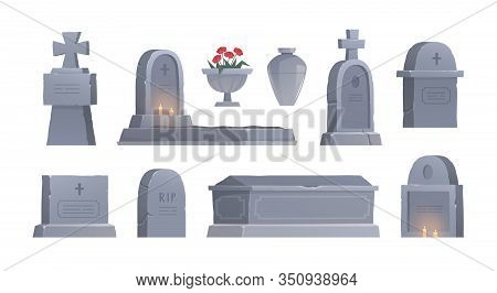 Graves Set. Cemetery Elements. Graveyard Tombstone. Funerary Urn. Urn For Ashes. Vector Isolated Ill