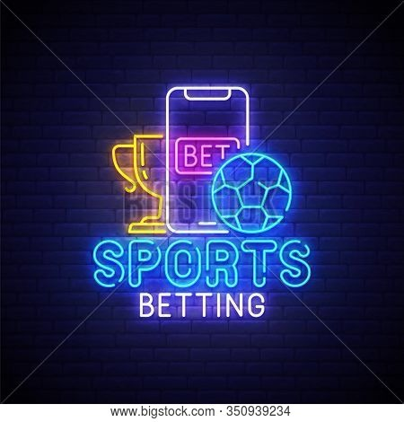Sports Betting Neon Sign, Bright Signboard, Light Banner. Sports Betting Logo Neon, Emblem. Vector I