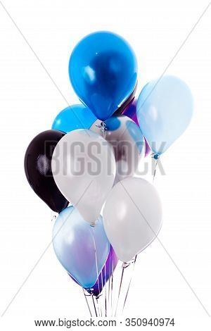 Bunch Of Color Balloons On White Background. Greeting Card With Blue, White And Black Balloons For M