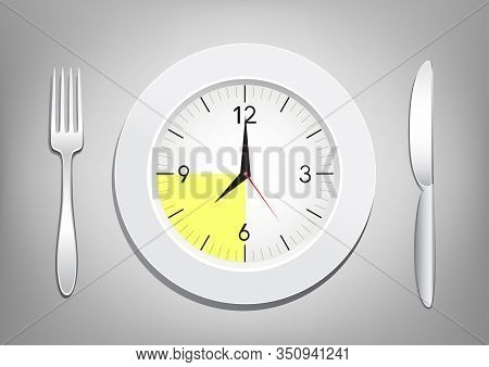 Tablewares Indicate Time To Breakfast Or Supper. Plate With Clock, Fork And Knife On White Transpare