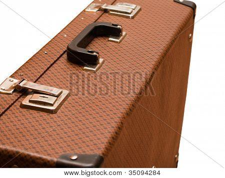 Business travel luggage suitcase isolated on white