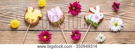 Easter Cookies, Gingerbread In The Shape Of A Rabbit And Chicken, Spring Easter Background With Flow