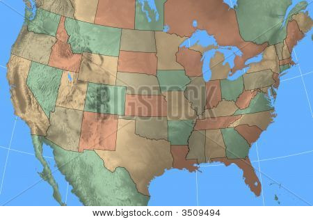 Usa Map With Terrain