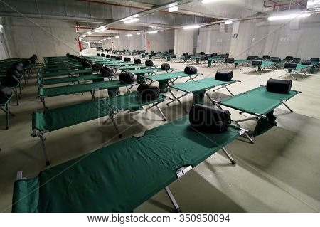 Bucharest, Romania - October 15, 2018: Many Beds Placed In The Basement Of The National Arena During