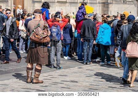 Edinburgh, Scotland, August 18th 2019.male Traditional Dress Of Scotland Consists Of A Kilt, A Sporr