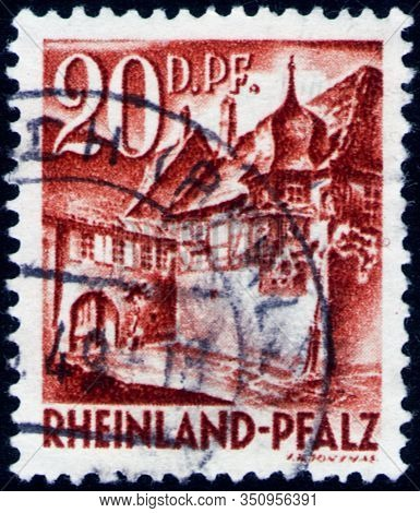 Saint Petersburg, Russia - February 01, 2020: Postage Stamp Issued In The Germany, Allied Occupation