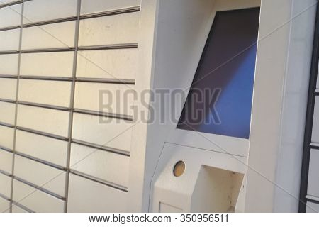 Electronic Locker, Yellow Automated Parcel Terminal (parcel Locker, Post Terminal, E-locker) On The