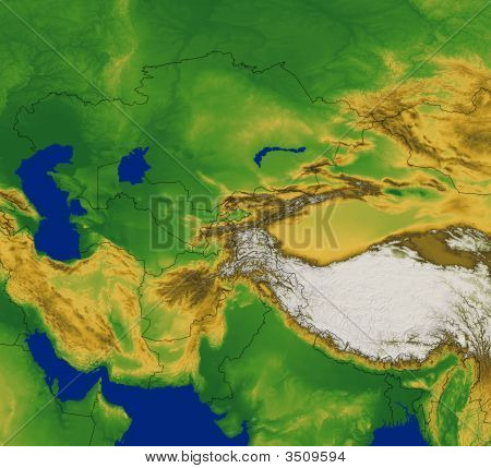 Central Asia With Terrain