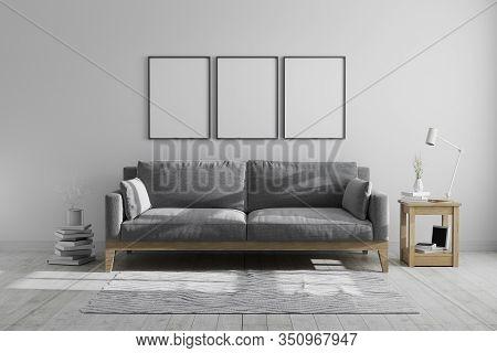 Mock Up Poster Frames In Scandinavian Hipster Style Modern Grey Tones Interior Background, Blank Fra