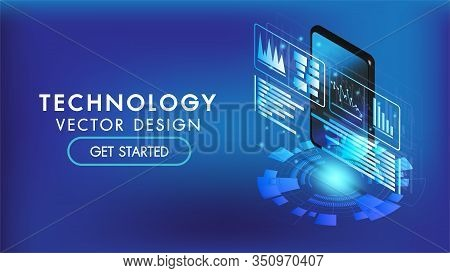 Isometric Smart Phone Or Tablet 3d Interface Background.screen Smart And Simple With Business Chart