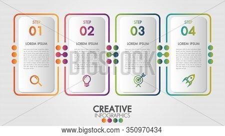 Vector Infographic Template Label Thin Line Design With Icons And 4 Options Or Steps.business Concep