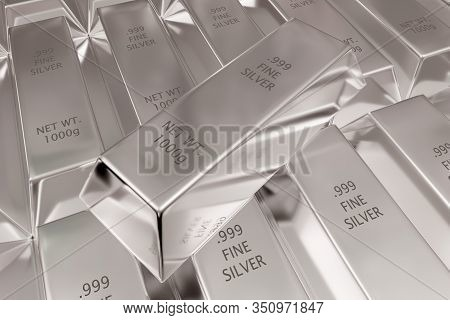 Single Silver Ingot On Rows Of Shiny Silver Ingots Or Bars Background - Essential Electronics Produc