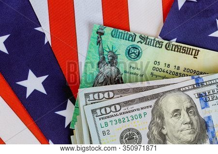 Usa Dollar Cash Banknote Stimulus Economic Tax Return Check With Us Flag