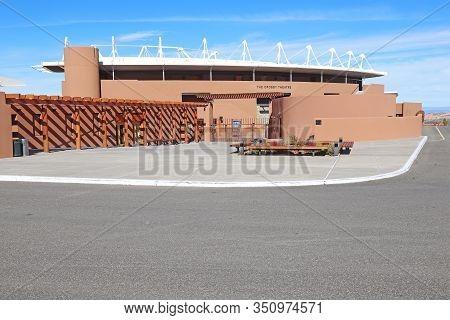 Santa Fe, New Mexico - October 22 2019: External Facade Of The Crosby Theatre At The Santa Fe Opera