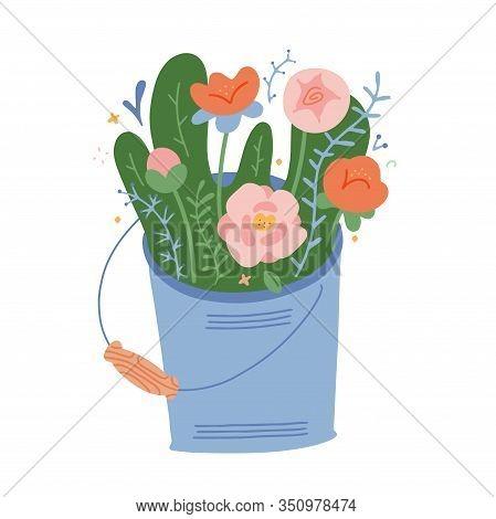 Blooming Bouquet, Spring Flowers With Leaves. Metal Bucket Full Of Seasonal Flowers, Peony Roses. Mo