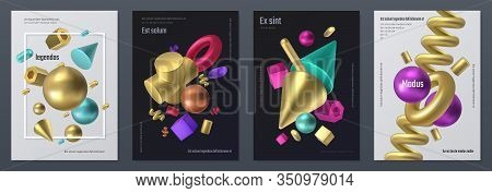 Render Shapes Poster. Realistic 3d Geometry Shapes, Minimal Flyer With Abstract Isometric Elements.