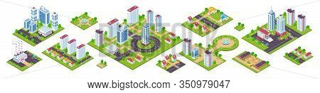 Isometric City. 3d Real Estate Houses Cars And Town Constructions, City Blocks With Streets And Natu