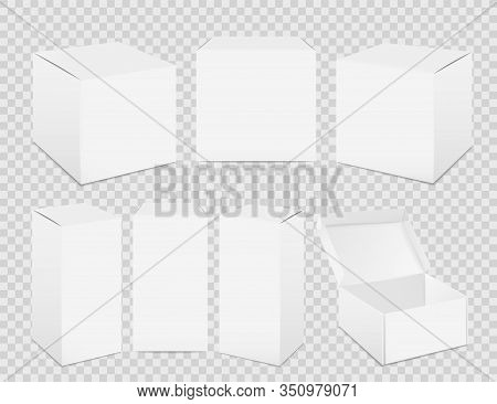 Paper Boxes. Realistic Tall White Cardboard Package Mockup, Paper Food Container. Vector Set Isolate