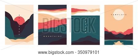 Landscape Minimal Poster. Abstract Geometric Banners With Mountains Lakes And Waves. Vector Illustra