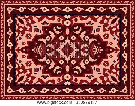 Persian Carpet. Indian Rug And Arabesque Abstract Border Texture, Vintage Eastern Geometric Pattern