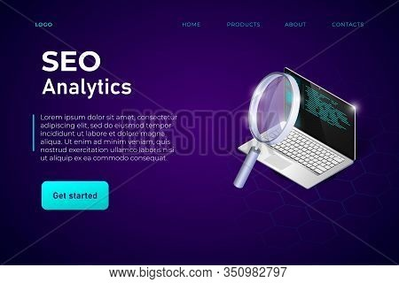 Seo Analysis Landing Page Header Template With Realistic 3d Isometric Laptop And Magnifier. Seo Bann