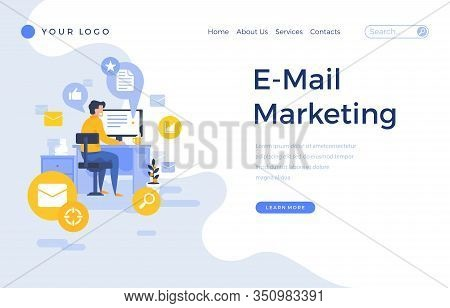 Landing Page Template E-mail Marketing Concept With Office Male Character.