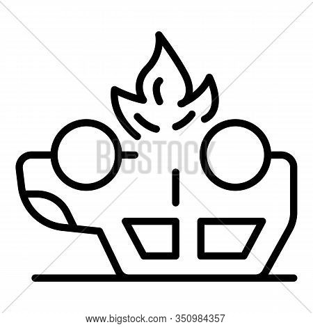 Car Accident Fire Icon. Outline Car Accident Fire Vector Icon For Web Design Isolated On White Backg