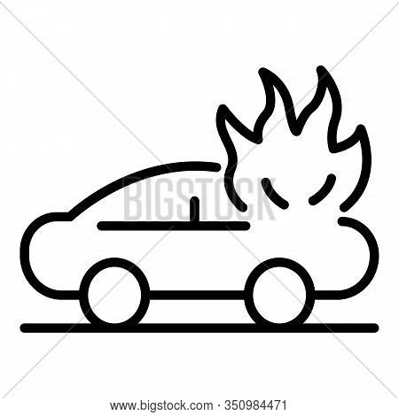 Car Accident In Fire Icon. Outline Car Accident In Fire Vector Icon For Web Design Isolated On White
