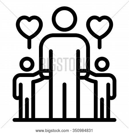 Foster Family Kids Icon. Outline Foster Family Kids Vector Icon For Web Design Isolated On White Bac