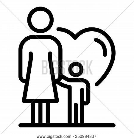 Foster Family Child Icon. Outline Foster Family Child Vector Icon For Web Design Isolated On White B