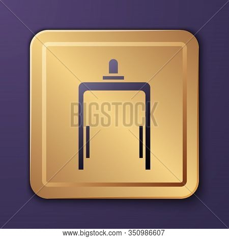 Purple Metal Detector In Airport Icon Isolated On Purple Background. Airport Security Guard On Metal