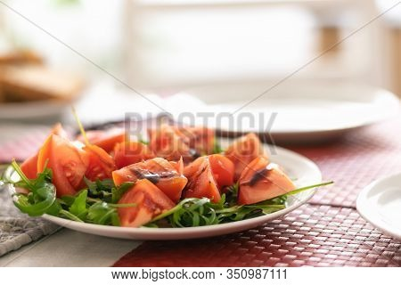 Plate Of Tomato Salad Food. Healthy Food. Healthy Food For Breakfast. Plate Of Vegetarian Food. Vega