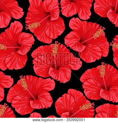 Tropical Summer. Seamless Pattern Of Red Hibiscus Flowers. Vector Illustration.