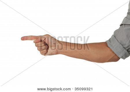 arm with hand pointing to the side