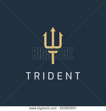 Trident Logo Icon Design Template. Letter T In Spear Shape. Business Symbol Or Sign. Line Luxury Log