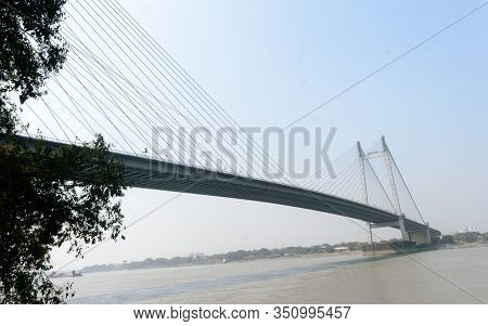 Panoramic Vidyasagar Setu Or Hooghly Bridge During Sunset. Famous Longest Cable Stayed Toll Flyover