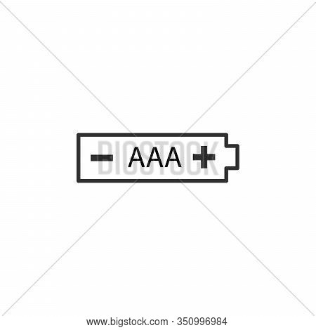 Aaa Battery Icon, Stock Vector Illustration Isolated On White Background.