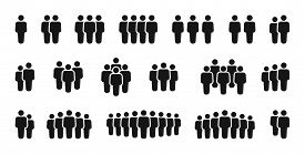 Set Of People. Collection Web Icons People. Silhouettes Business People, Teamwork, Team, Group, Blac
