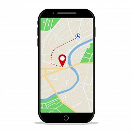 Map Gps Navigation In Mobile Phone. Online Application Of Direction On Map For Car In Smartphone Scr