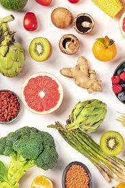 Vegan Food, Healthy Diet Overhead Flat Lay Shot. Fruits, Vegetables, Legumes, Mushrooms, Shot From A